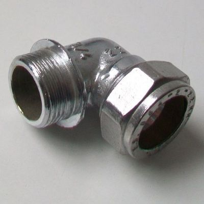 "Chrome 22mm x 3/4"" Compression Male Iron Elbow"